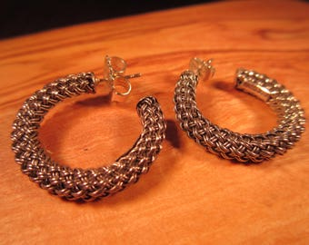 Unique Retro Sterling Silver Braided Rope Earrings