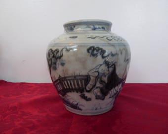Ming Dynasty Chinese Blue and White Vase Ginger Jar / Urn