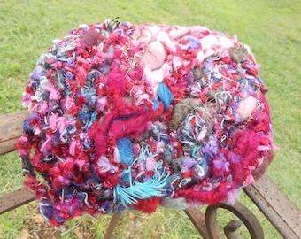 "Handspun ""Opera"", Merino, silk and wool fancy fibers and various."