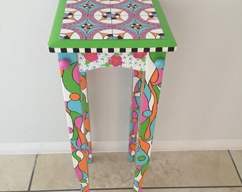 60s Mod   Painted Home Accent   Hand Painted Accent   Tea Table   Painted  Accent