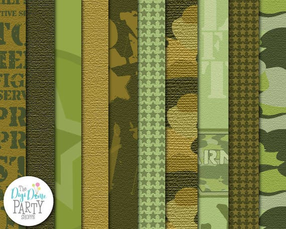 Army Camouflage Digital Scrapbooking Paper Pack Buy 2 Get 1 Free