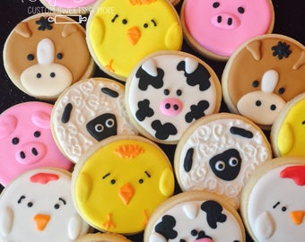 Animal Cookies, Barn animals party, farm animal favors, farm cookies