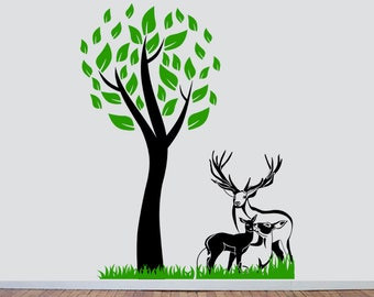 Deer family and Tree, Interior Sticker, Window Sticker, Wall Decal, Wall Decor, Wall Sticker, Nature