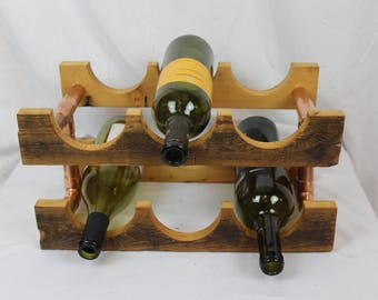 Reclaimed Old Growth 2x4 & Copper Pipe 6-bottle Wine Rack