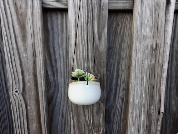 Small Ceramic planter-white-   Hanging flower pot - herb planter- NEW!