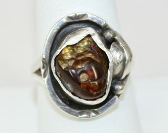 Vintage 925 Sterling Silver Fire Agate Ring Hallmarked Hand Fabricated Mens or Ladies Sz 9 c1970s
