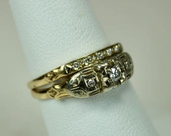 Antique Ladies 14K Yellow Gold Diamond Engagement Ring Wedding Band Set Bridal Set 0.2ctw Diamonds Size 7.5 c1920s Art Deco