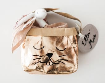 Bunny storage box, transforms into cute bag, holds favourite toys, dollies, nursery storage, sustainable living, washable paper, embroidery