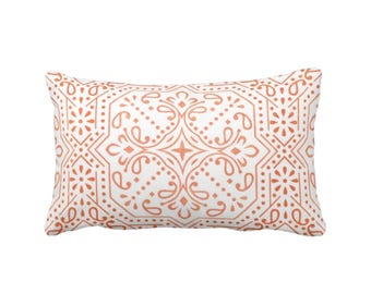 "Tile Print Throw Pillow, Coral & White 16 or 20"" Square OUTDOOR or INDOOR Pillows, Off-White/Red/Orange Abstract Geometric/Batik Pattern"