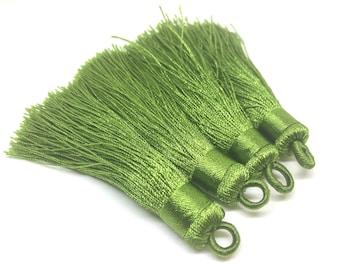 Asparagus Green Tassels, tassel earrings, Silk Tassels, 3 Inch 80mm Tassel, green jewelry, tassel necklace, green necklace, long necklace