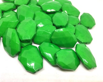 Shamrock Green faceted beads, dark green beads, green beads, Bangle Making, Jewelry Making, 27mm Beads, Jewelry necklace, green jewelry