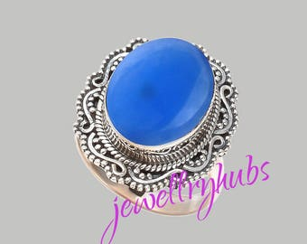 Blue Chalcedony Ring, Pure 925 Sterling Silver Ring, Statement Ring, Solitaire Ring, Boho Ring, Blue Cabochon Ring, Chalcedony Rings, R21CH