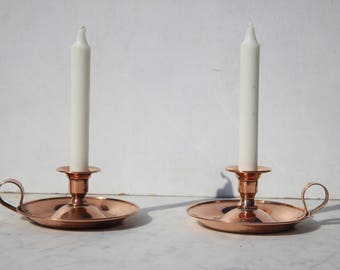 Two French Copper Villedieu candle holders, candlesticks ,home decor