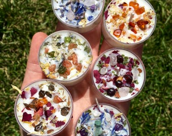 Crystals & Herbs Tealight Candles Soy - Energy Candles handmade - Aromatherapy Candles - soy candle - Healing crystals - Custom candles