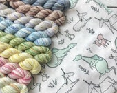 Gentle Beasts Mini Skein Sock Kit - 8 magical creatures and a drawstring bag to carry them home in
