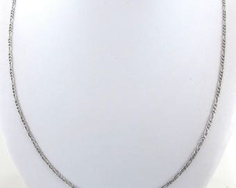 "14k White Gold Figaro Chain Necklace 20"" 4.9 grams - Nice Chain For Pendant"