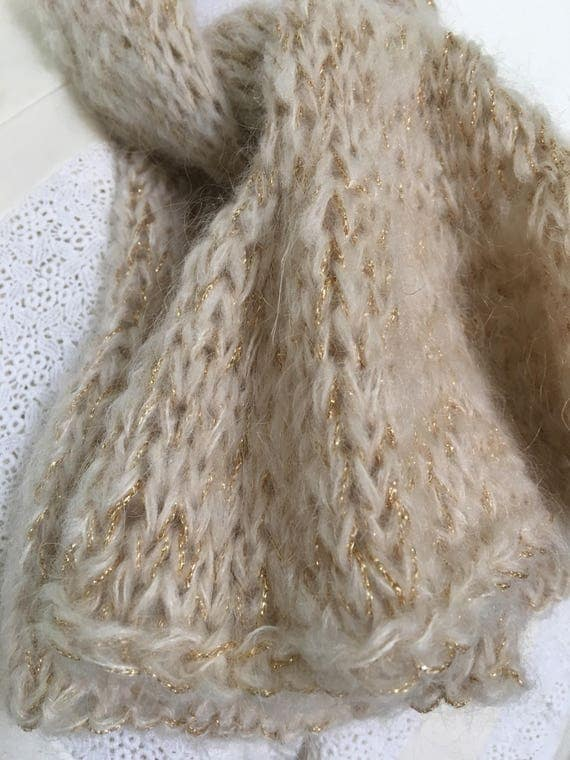 Soft salmon rose mohair scarf, light, short, with frills, with golden sheen thread