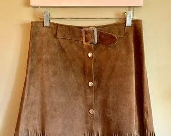 Vintage 1960's brown suede fringe boho hippie festival miniskirt Small