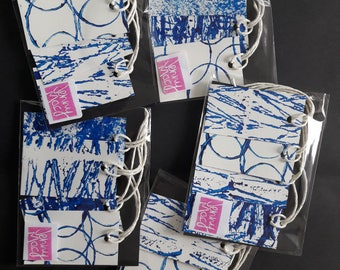 Hand printed tags 4 pack