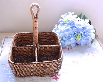 Vintag rattan tray / Rattan serving tray / Old section rattan box / Serving rattan box / Section rattan box / Glass serving box