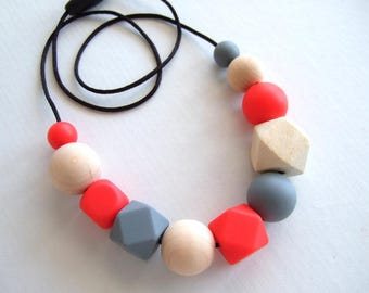 Wood + Silicone Geo necklace - BPA FREE - Choose a colour