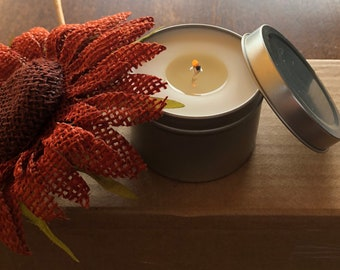 Hand poured beeswax and coconut oil  candles in a 6 oz tin