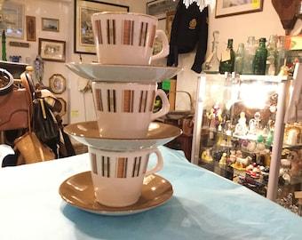 Set of 3 Teacups and Saucers