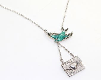 Sterling Silver Delicate Turquoise Enamel and Marcasite Love SWALLOW BIRD ENVELOPE Necklace
