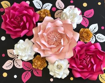 Paper flower  backdrop, Paper flower nursery decor, Large paper flowers, nursery paper flowers, Paper flower wall decor