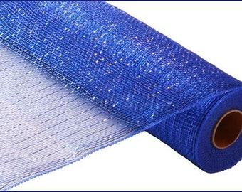 "21"" Royal Blue Metallic Deco Mesh, Royal Blue Metallic Deco Poly Mesh (10 yards) - RE130125"