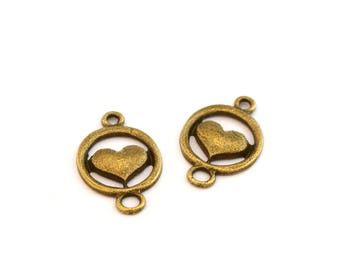 2 antique bronze heart connectors