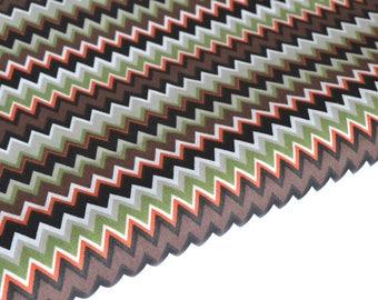 Fabric cotton Brown, orange, black and green Chevron by 50 cm