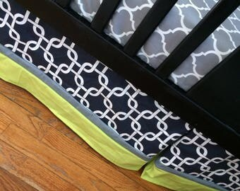 Custom Crib Bedding Set, Made to Order, lime green, navy, grey, crib skirt, sheet, baby blanket