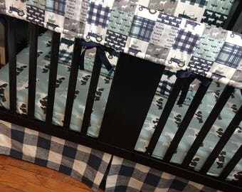 Baby Boy Custom Crib Bedding Set, Made to Order, farm theme featuring navy, mint and gray designs with tractors, farm animals, plaid