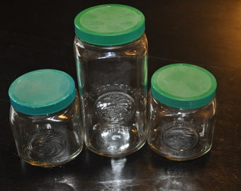 Golden Harvest Canisters with Green Lid