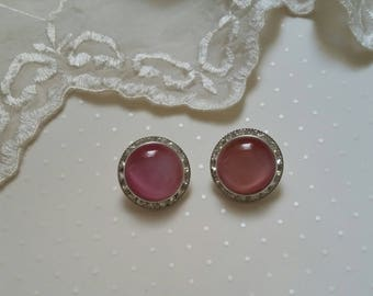 Vintage Pink Moonglow Earrings Lucite Earrings Rhinestone Earrings Pierced Earrings