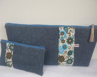 Toiletry and makeup in blue jeans and fancy flowers fabric