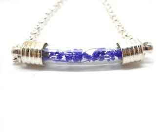 Silver globe bracelet tube purple foliage