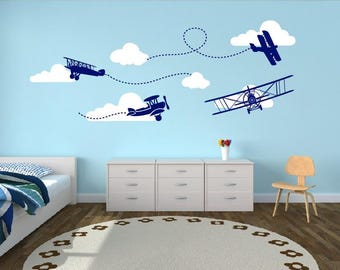 Biplane with clouds, Airplane decal, Nursery Monogram,Wall Decal - Boy Nursery Personalized Decal