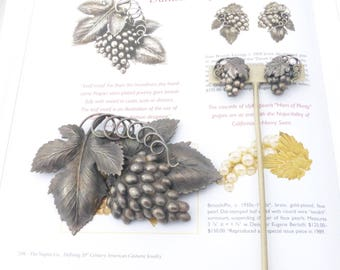 Napier Danish Grape Leaf brooch and earring set antiqued silver plate Book Piece AM06