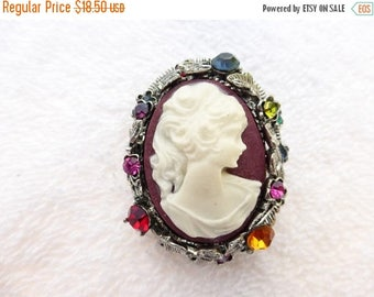 Half off Cameo brooch pendant ornate silver tone with rhinestones AF04