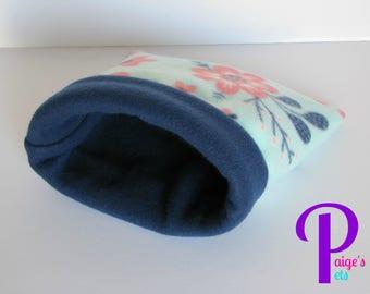 Fleece Snuggle Sack, Cuddle Sack, Cozy Sack, Guinea Pig Snuggle Sack, Hedgehog Snuggle Sack   Cherry Blossoms with Navy