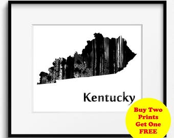 Kentucky State Map Watercolor Black and White Art Print (794) Bluegrass State United States