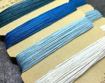 Blue Hemp Cord, 0.55 mm 10lb test, BeadSmith Aqua Shades Natural Hemp, Assorted Blues and White Hemp String Card, Hemp Macrame Cord (HEM-25)