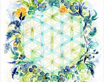 Flower of life with flowers - icon image - canvas print 30x40cm, mural, symbol
