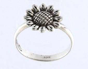 Sterling Silver Sun Flower Fashion Ring