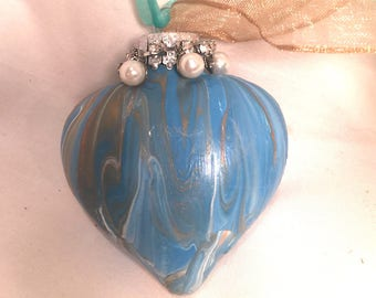 Turquoise Blue Gold and White Acrylic Pour Swirl Painted Glass Heart Ornament Pearls Rhinestones Ribbon