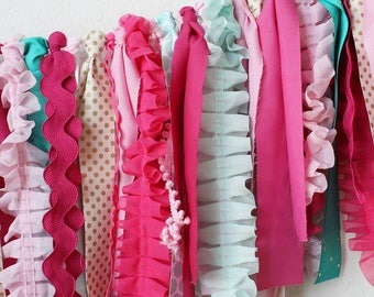 Full of Pink Fabric Garland. Pink decor, baby nursery, baby shower, garden party, girls room decor, summer girls party, photo shoot prop