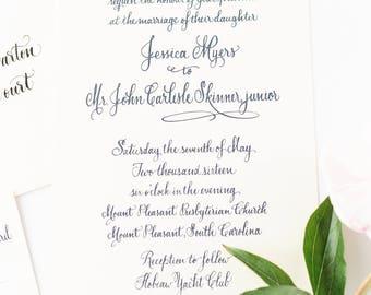 Letterpress Wedding Invitation - Custom Full Calligraphy