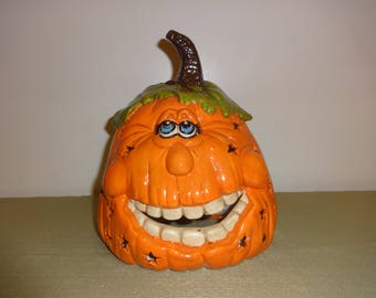 Ceramic Pumpkin with Silly Face Lights Up